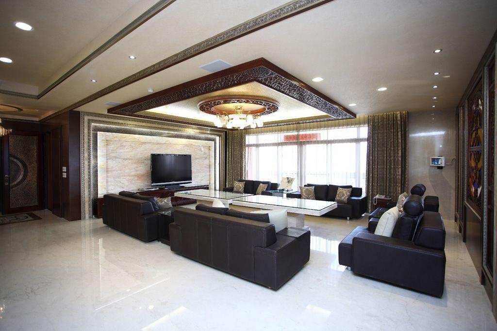现代中式设计 别墅客厅吊顶效果图