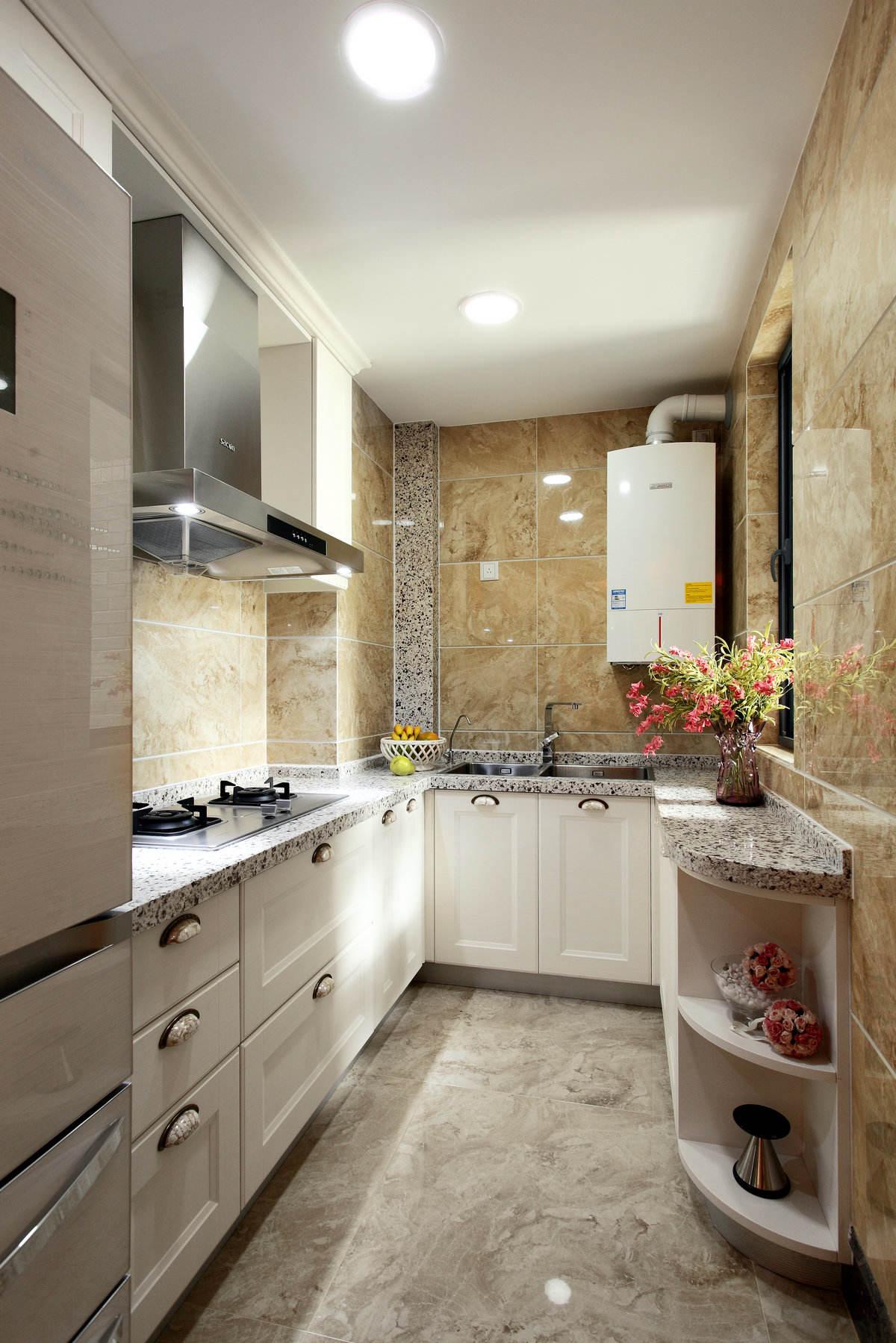 美式风格厨房石英石台面设计