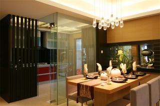 现代中式餐厅 玻璃隔断效果图