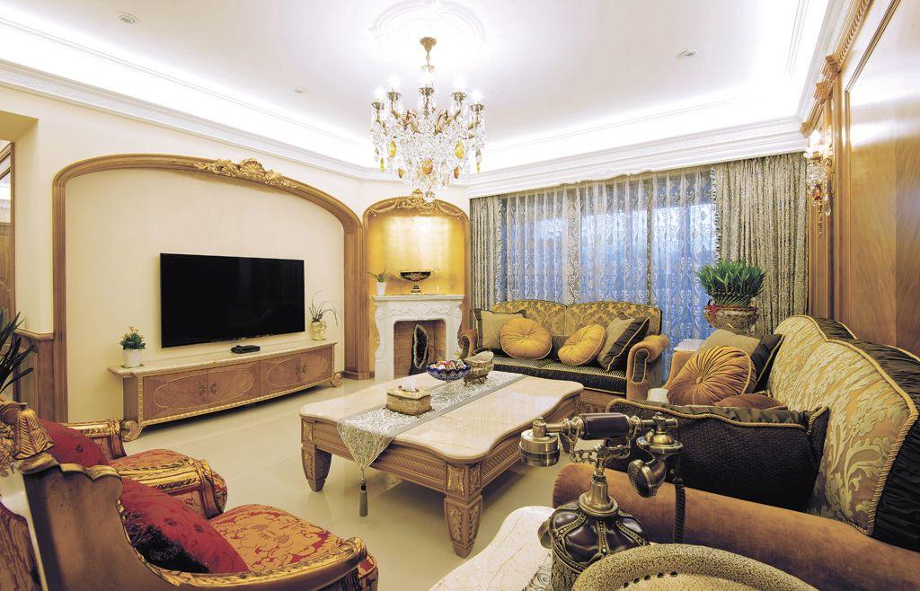 豪华东南亚风格客厅效果图
