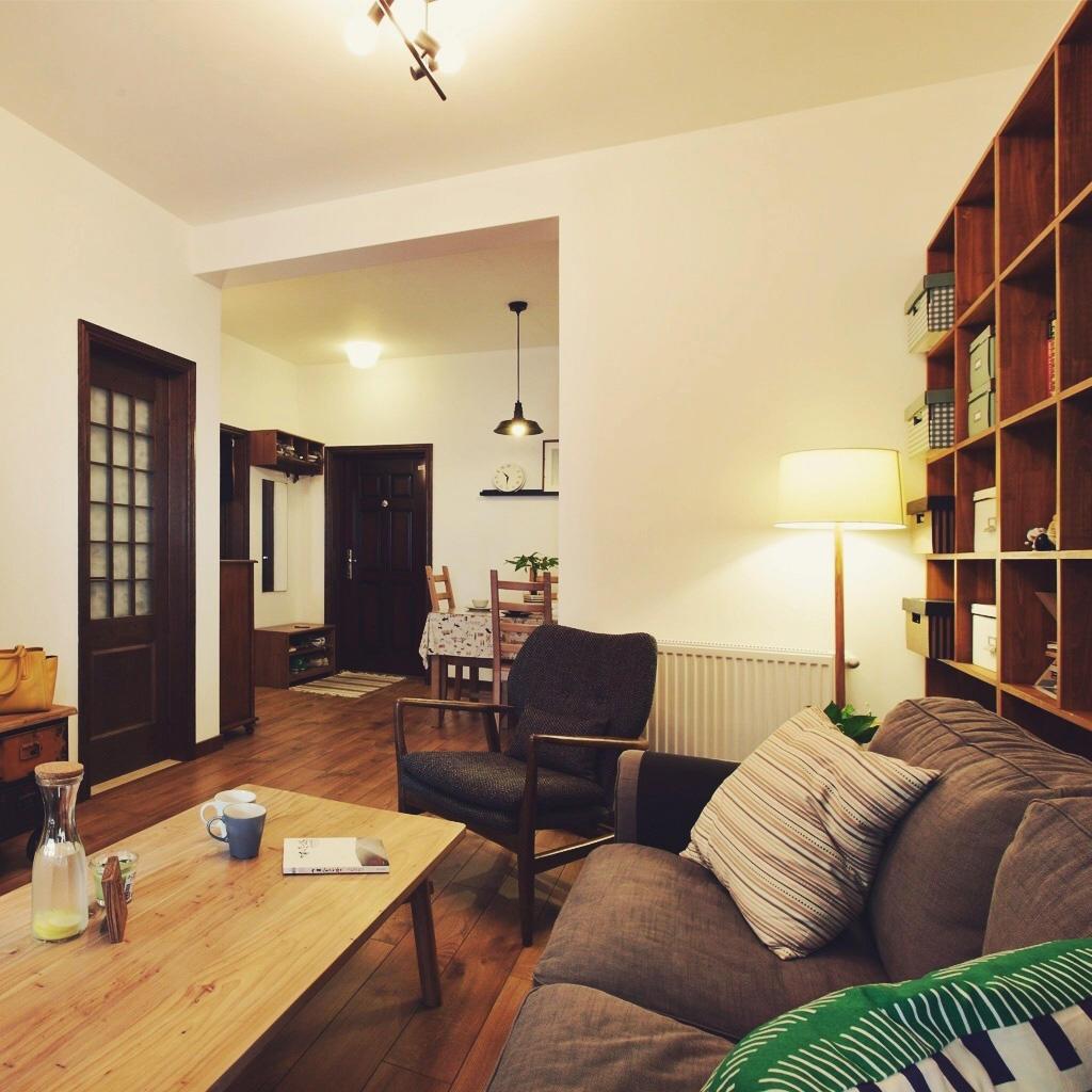 复古休闲美式两室两厅效果图