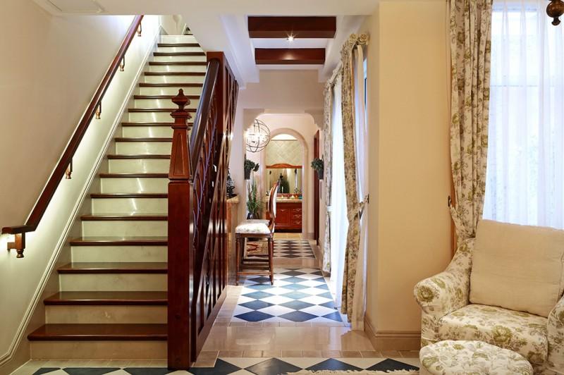 美式田园风红木楼梯护栏设计
