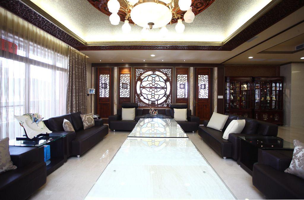现代中式别墅客厅效果图