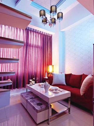 紫色优雅现代小户型复式鉴赏