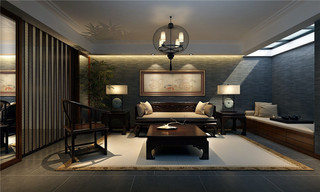 现代中式家装茶室效果图