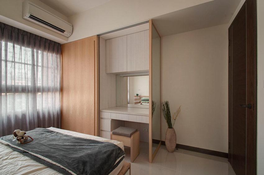 最新简约卧室 衣柜化妆台一体效果图