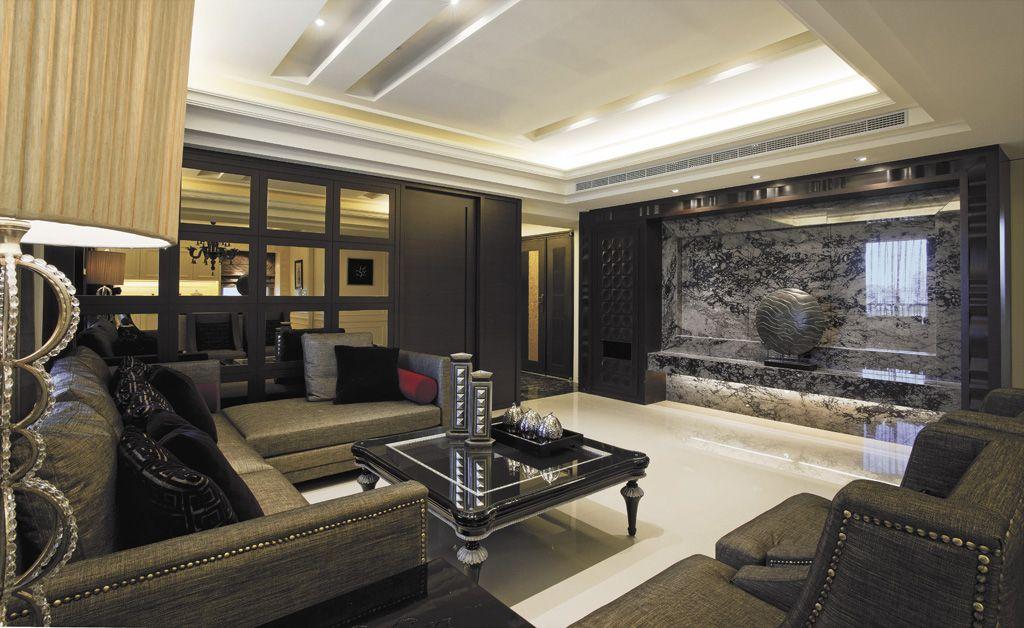 摩登深色系美式客厅装饰大全