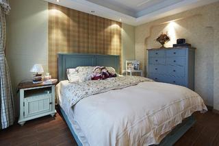 复古美式卧室格子背景墙设计