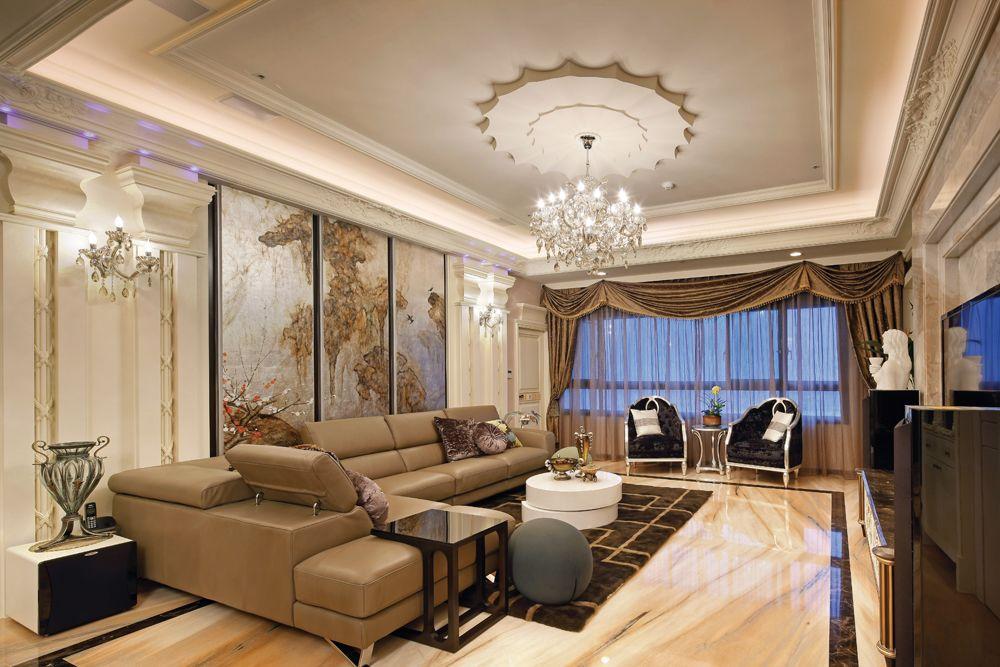 豪华现代欧式别墅客厅效果图