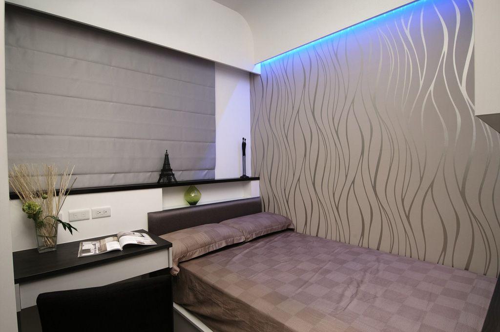 时尚灰色系简约风卧室窗帘设计