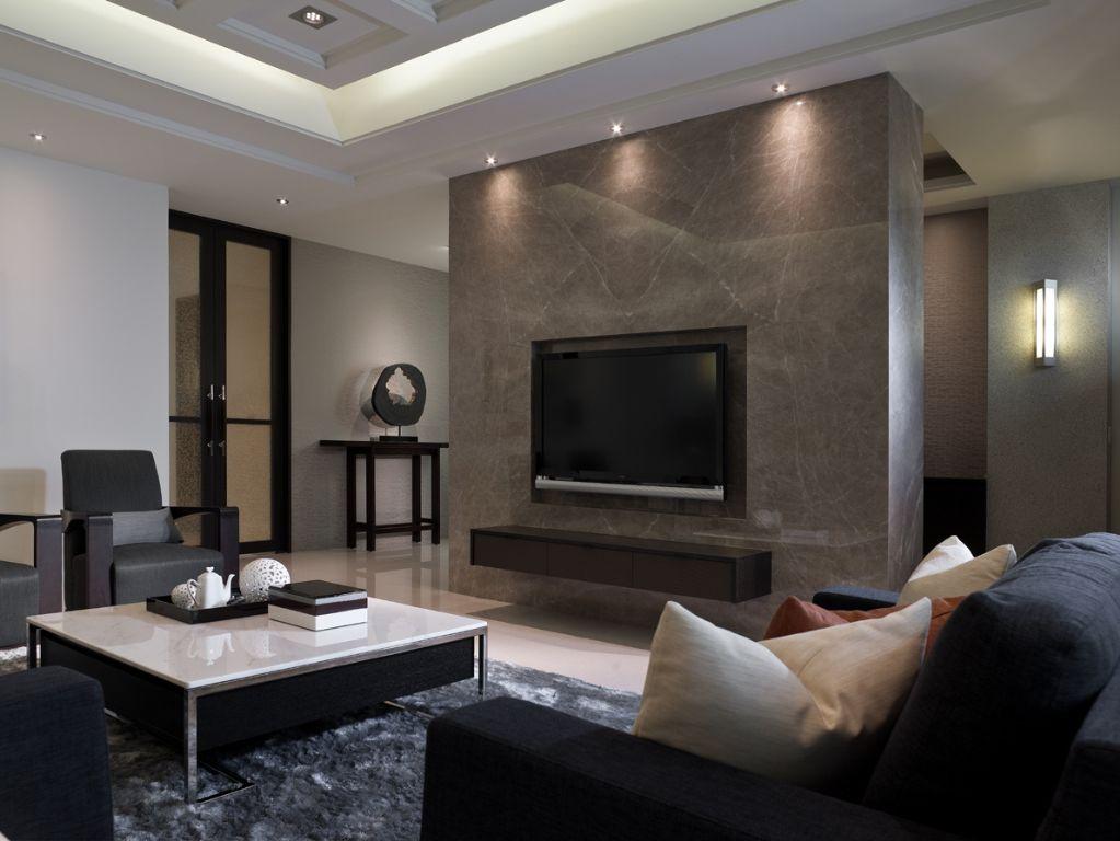 素雅现代风格客厅电视墙设计