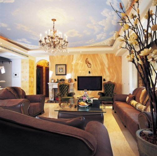 豪华欧式风格别墅客厅效果图