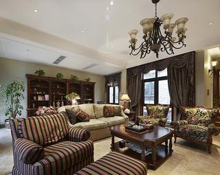 复古美式别墅客厅效果图