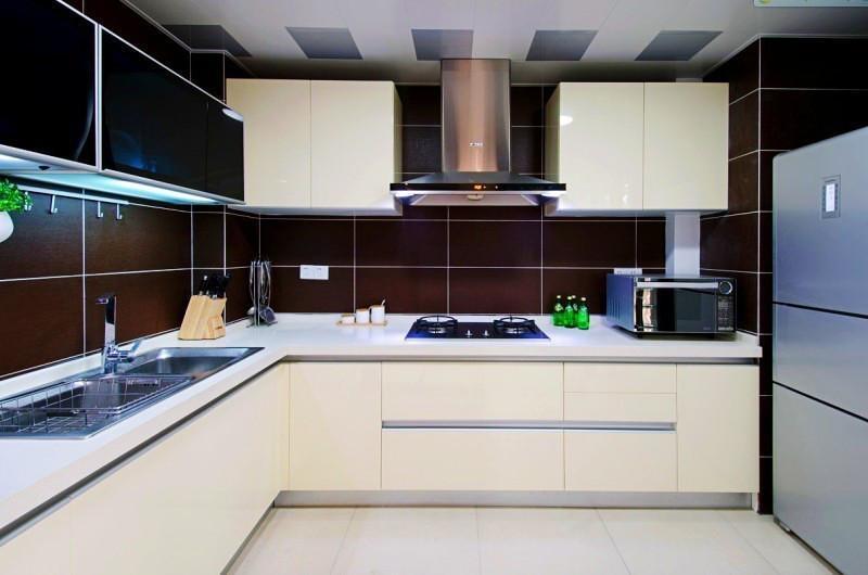 咖色现代风厨房 L型橱柜设计