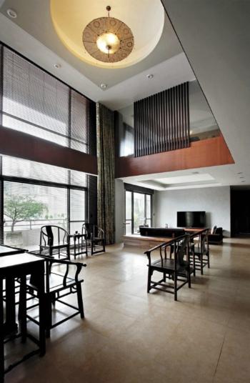 简中式别墅挑高客厅效果图