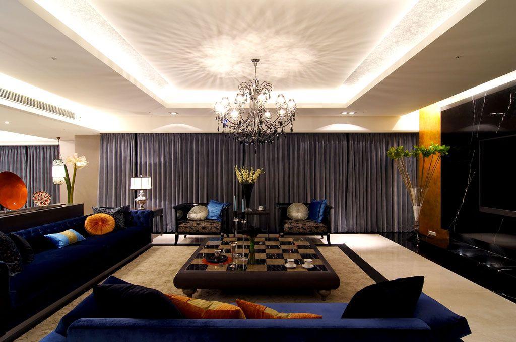 现代中式混搭客厅吊顶效果图
