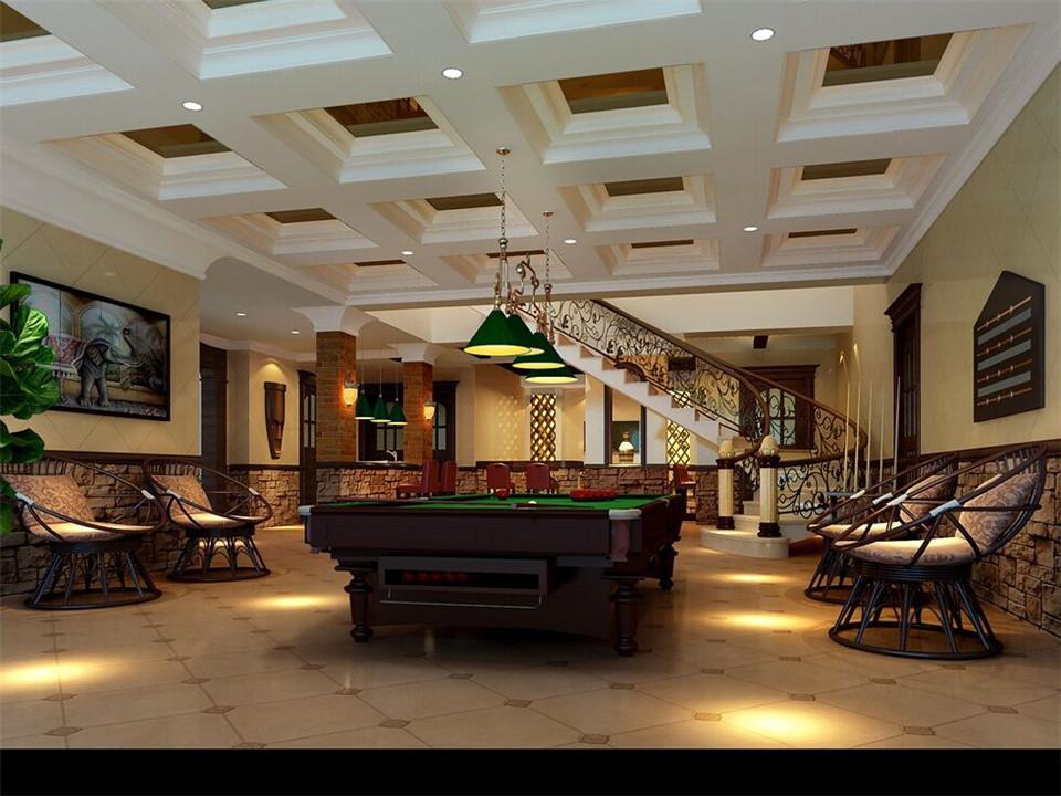 现代中式风格 别墅桌球室吊顶效果图
