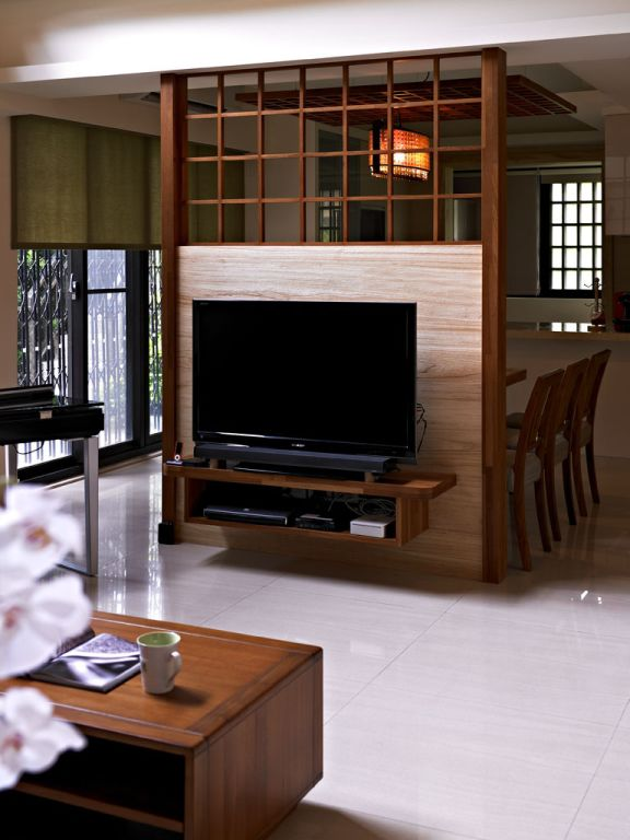 日式实木电视背景墙效果图