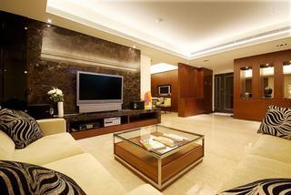 现代简中式三居室装修案例