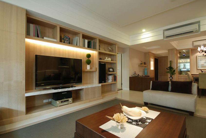 原木现代客厅电视墙设计