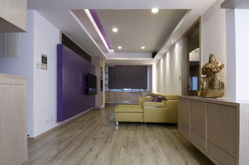 紫色简约二居室内装潢图