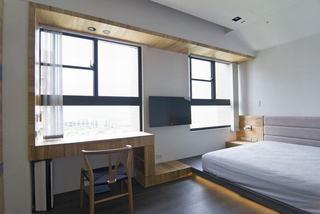 现代北欧风卧室窗户效果图