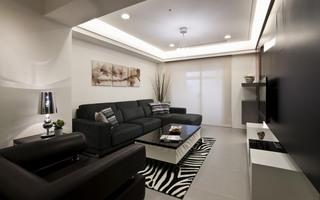 黑白时尚现代客厅家装效果图