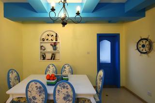蓝色唯美地中海小户型装潢图