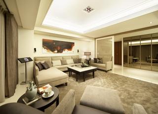 米白色现代别墅室内装饰图