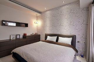 现代家装卧室 淡紫色壁纸效果图