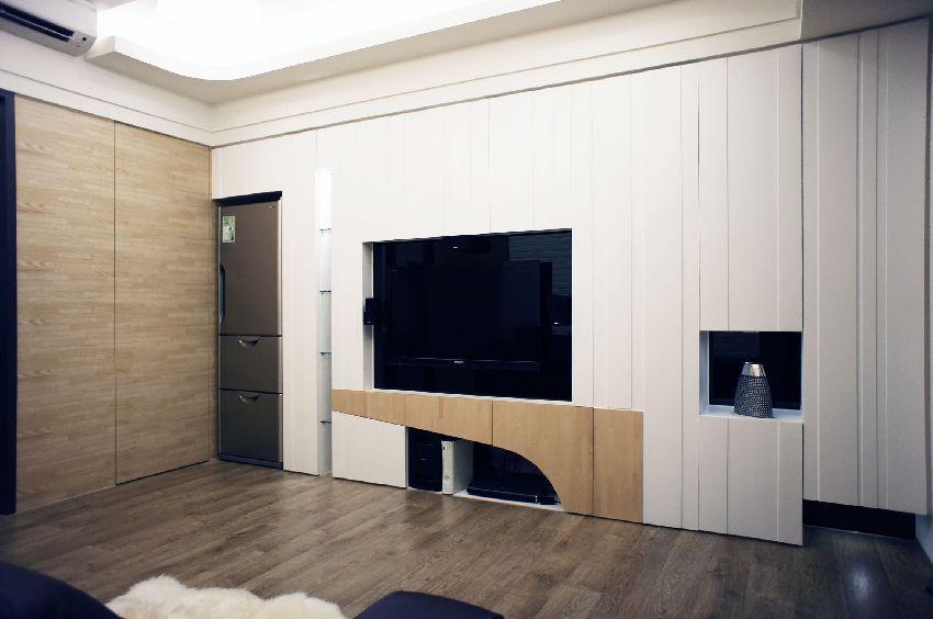现代日式电视背景墙效果图