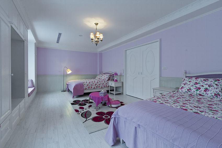 梦幻紫色美式 双人儿童房设计