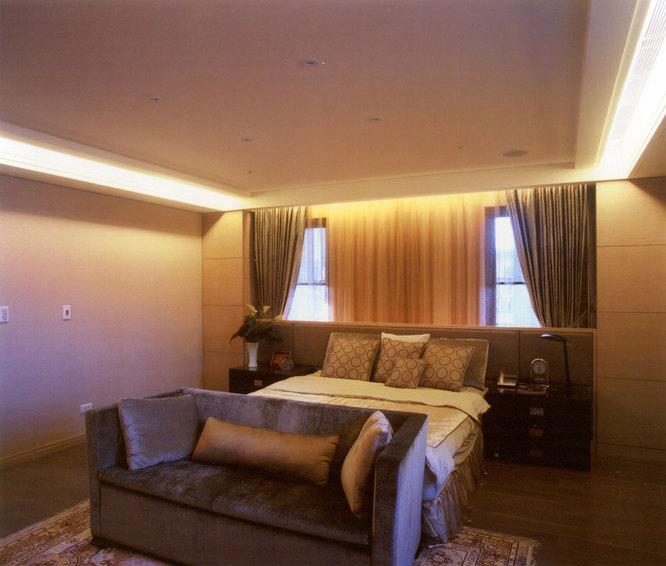 温馨暖咖色美式卧室效果图
