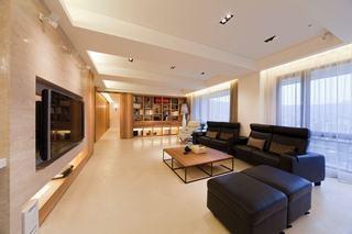 140平美式公寓原木风装潢效果图