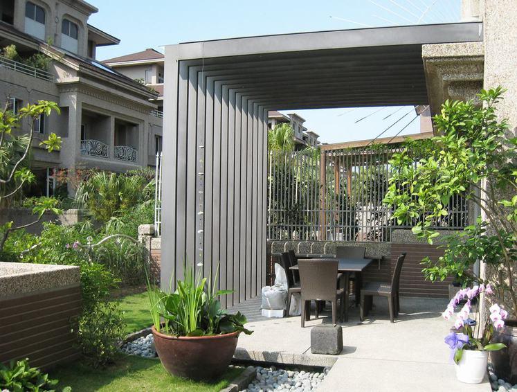 创意现代风别墅庭院餐厅效果图