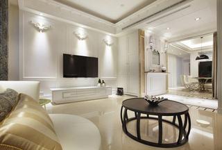 白色简欧风格电视背景墙装修