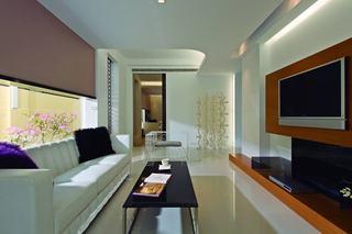 休闲简美式客厅整体装饰效果图