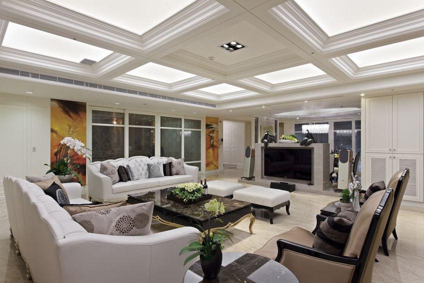 时尚奢华美式客厅吊顶效果图