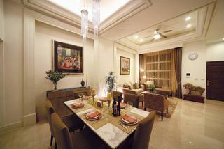 家装美式餐客厅吊顶效果图