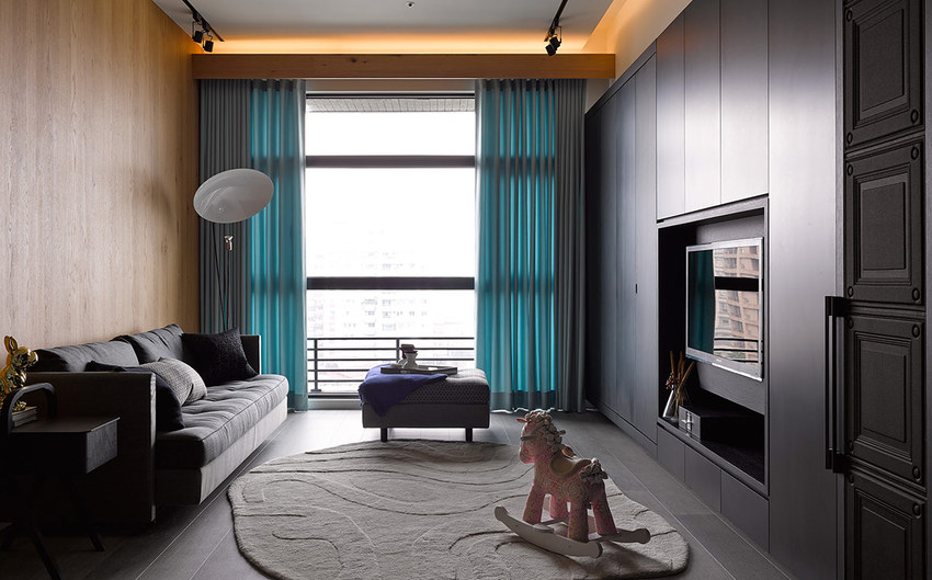 美式风格一居客厅装潢效果图