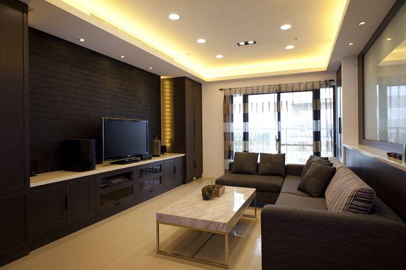黑白时尚现代客厅精装效果图