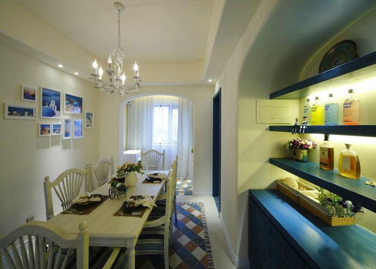 地中海风格餐厅酒架设计