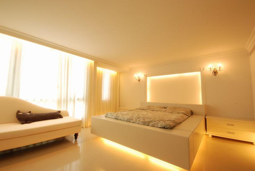 简约现代卧室灯光效果图