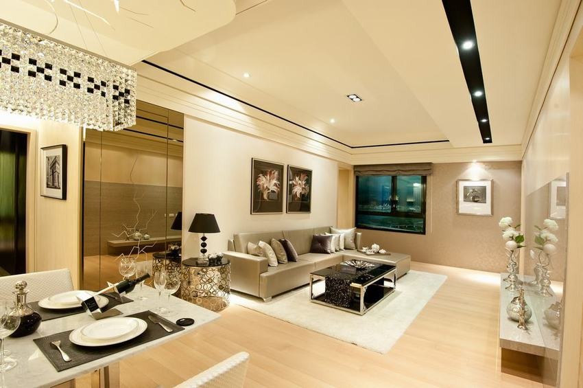 现代二居客厅精装效果图