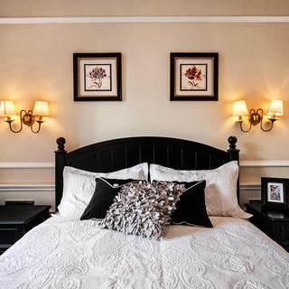 复古简欧风卧室床头效果图片