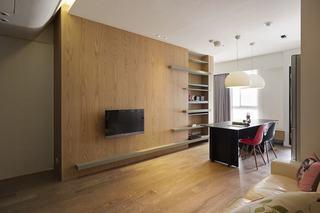 日式家装原木电视背景墙设计