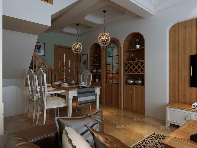 乡村美式田园风 餐厅酒柜设计
