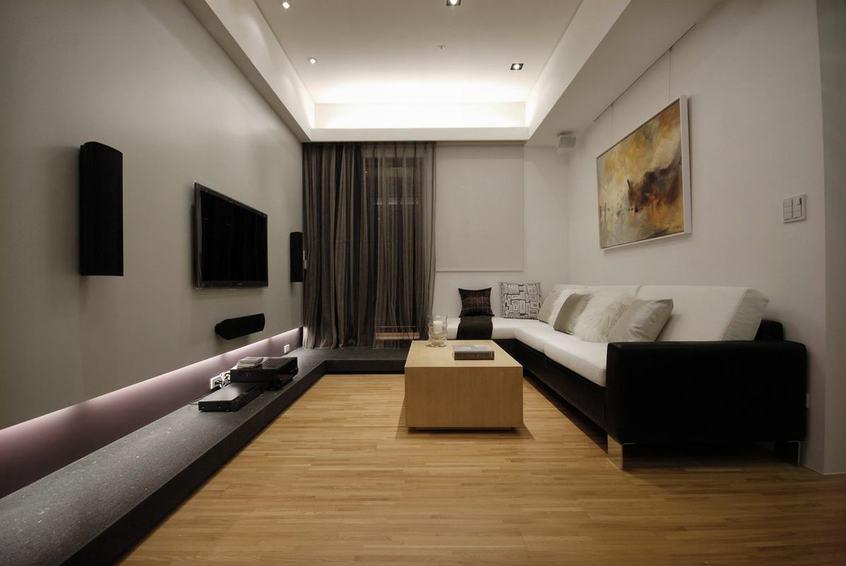 时尚现代客厅实木地板装饰