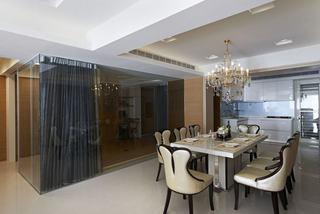 现代美式装修 餐厅玻璃隔断设计
