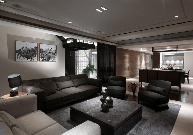 现代黑色风二居室内效果图